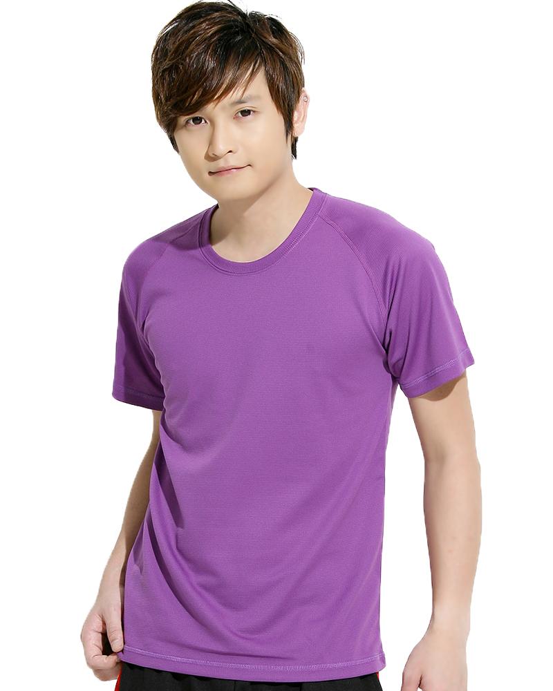 透氣T圓領斜袖 中性 紫色