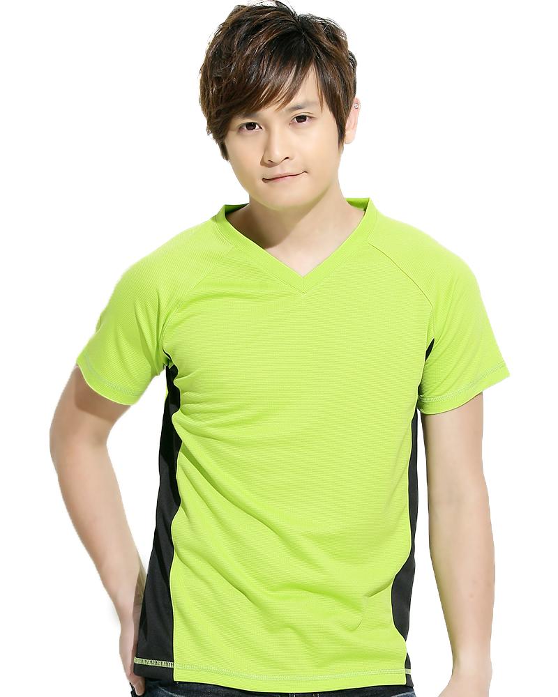 透氣TV領短袖 中性 螢光綠