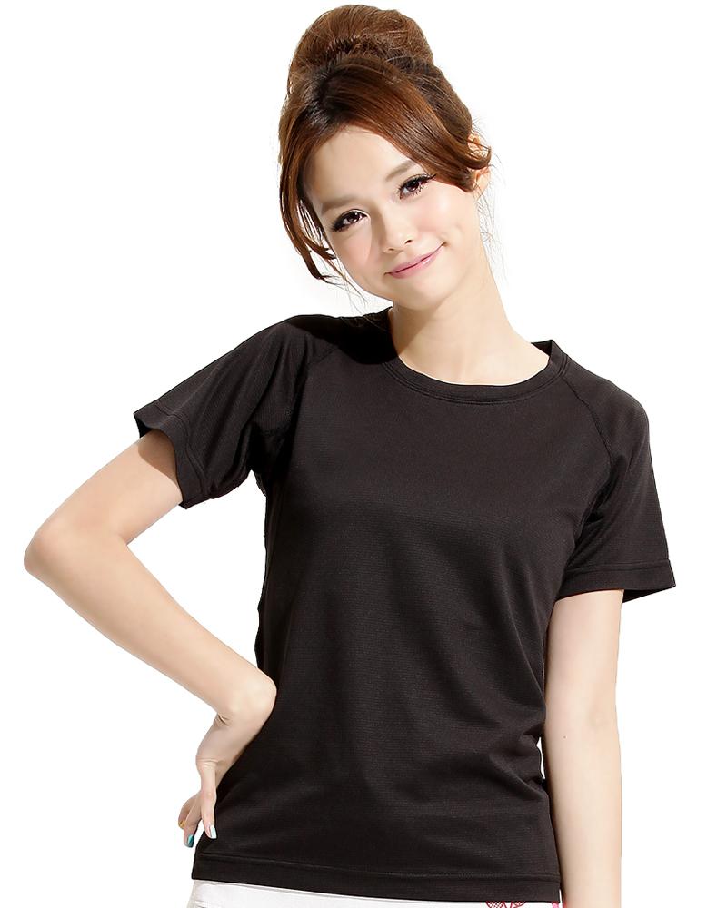 透氣排汗T 圓領短袖 腰身 斜袖款 黑色 THTG-A01-05