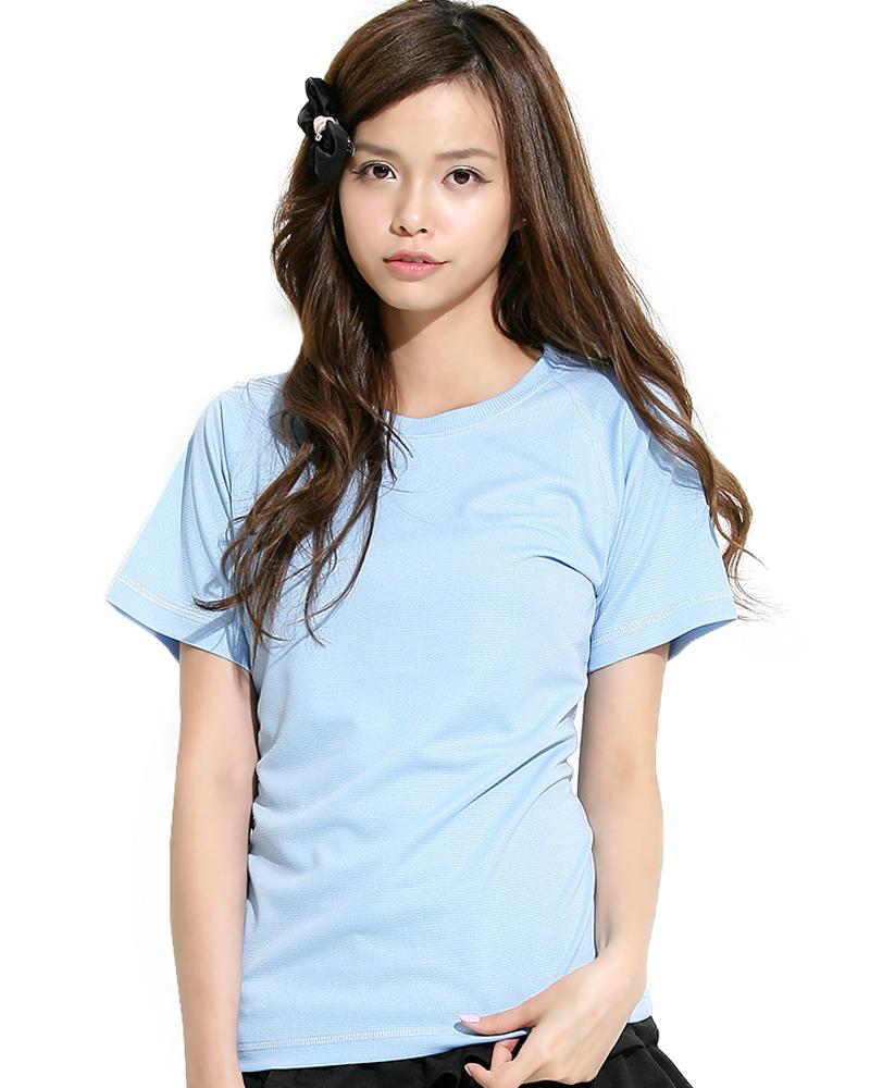 透氣T圓領斜袖 腰身 水藍