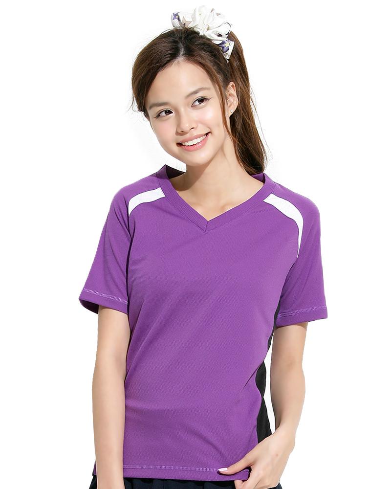 透氣TV領斜袖 腰身 紫色